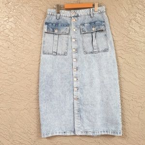 Free People Ava Denim Jean Midi Skirt